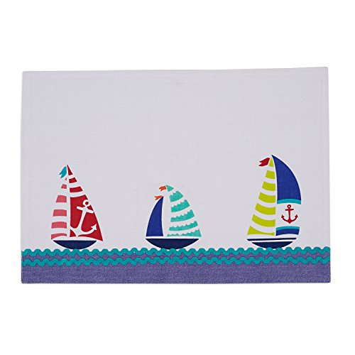 """DII 100% Cotton, 13 x 19"""" Everyday Basic Placemat Set of 6, 13x19"""", Sailboats Embroidered"""