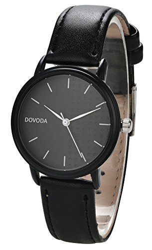 adb3bd61a DOVODA Ladies Watches Quartz Fashion Black Leather Strap Dress Watch for  Women