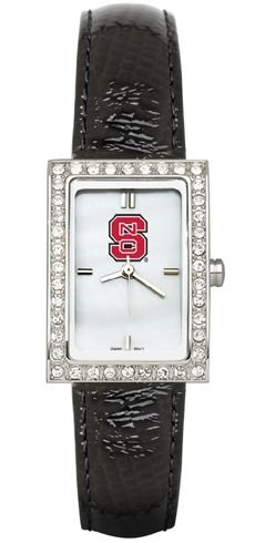 NC State Wolfpack NCSU NCAA Allure Ladies Watch With Black Leader Strap by Logo Art
