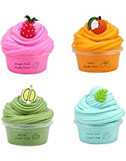 Pack of 4 Butter Slime Kit, Scented DIY Slime Fruit Cloud Slime for Kids, Soft Tone Cotton Slime Plasticine Fun Stress Reliever Toy Green Durian, Leaf Magic