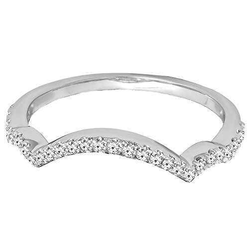 0.20 Carat (ctw) 14K White Gold White Diamond Ladies Wedding Contour Guard Ring 1/5 CT (Size 7) by DazzlingRock Collection (Image #3)