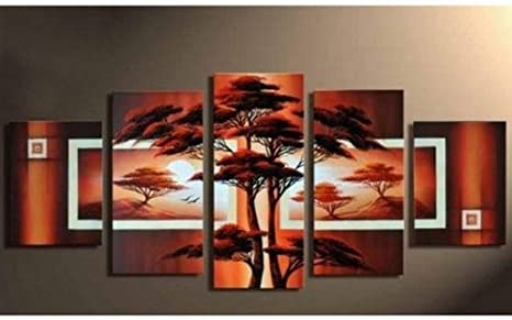 100 Hand Painted Art 5 Piece Wall Art African Big Tree Painting Abstract Oil Painting Group Painting Canvas Art Set Stretched Ready To Hang Paintings