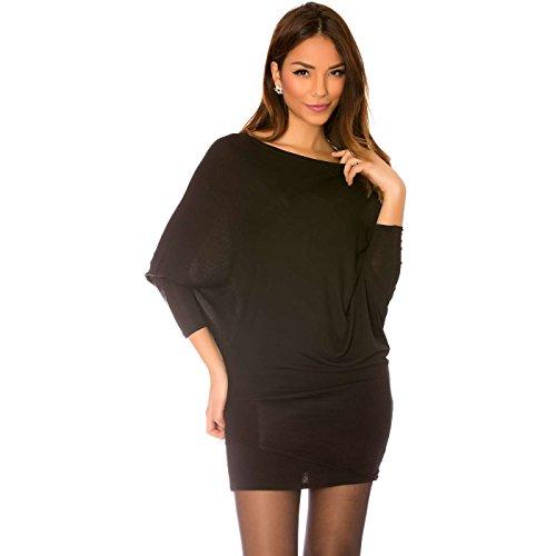 Miss Wear Line - Tunique noir style chauve souris à col bateau