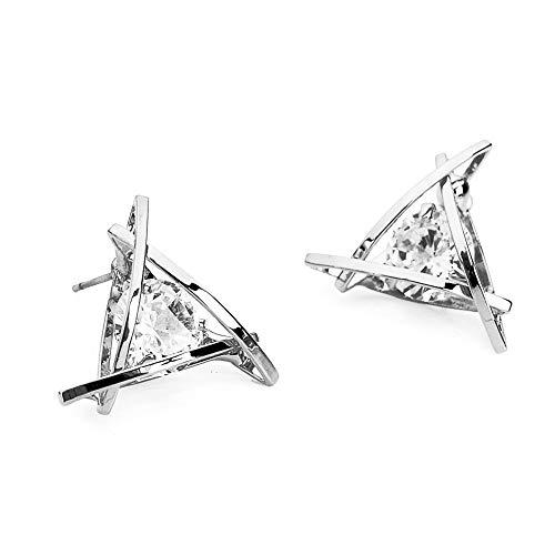 RC Earrings Women Girls Jewelry 925 Sterling Silver Cubic Zirconia Triangle Earrings