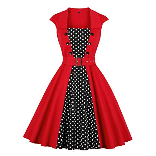 Killreal Women's Fashion Vintage Retro Stlye Patchwork Polka Dots Printed Cap Sleeve Cocktail Christmas Party Dress with Belt Red XX-Large