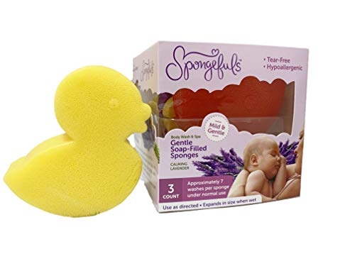 Spongefuls Gentle Baby Wash-Filled Sponge, 3-COUNT (Calming Lavender)
