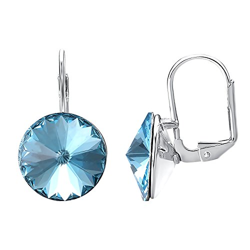 Yoursfs Light Blue Drop Earrings for Prom Round Sapphire Zircon Leverback Dangle Earrings For Women