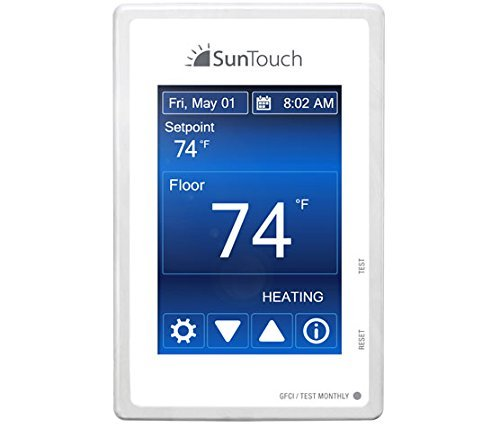 SunTouch Command Touchscreen Programmable Thermostat [universal] Model 500850 (low-profile, user-friendly floor heat control, 120/240V, bright white + paintable beauty ring) includes floor sensor by SunStat