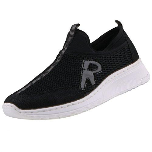 Rieker Damen N5054 Slip On Sneaker Schwarz (Schwarz)