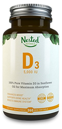 VITAMIN D3 5000 IU | 360 Vegetarian Potent & Effective Softgels | Pure Daily D Vitamins Supplement for Men & Women | Made with All Natural Lanolin | Non GMO, Gluten Free & Soy Free Vit Supplements (Natural Vitamins Supplements)