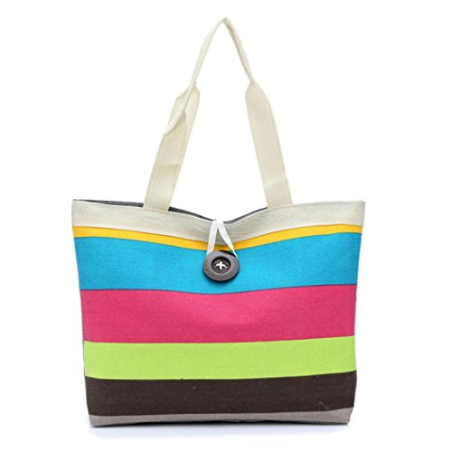 - Women bags, COPPEN Hot sale Fashion Lady Colored stripes Casual Shopping Handbag Shoulder Canvas Bag Tote Purs (Hot Pink)