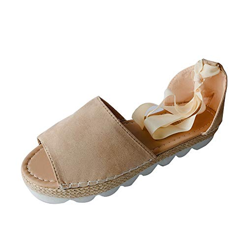 Mysky Fashion Women Summer Holiday Pure Flock Beach Lace Up Sandals Ladies Casual Peep Toe Soft Flat Shoes Beige -