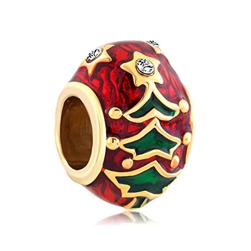 Christmas Tree Gold Plated Pugster Charm Fits DIY Pandora Bracelet ()