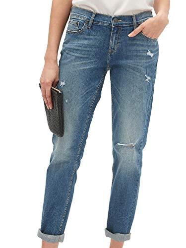 Banana Republic Womens Destructed Girlfriend Indigo Medium Blue Wash Jeans (US: 10/30 Inch Waist)
