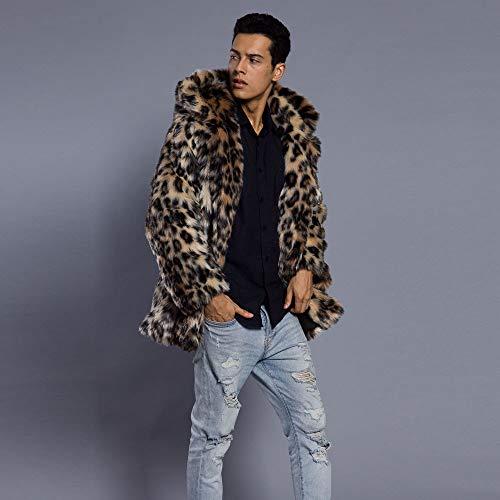 Veste Manteau Manteau Blouson subfamily Outwear Léopard Multicolore D'impression Chaude Homme Faux Parka Fausse Coat Fourrure Hiver qAFnagY