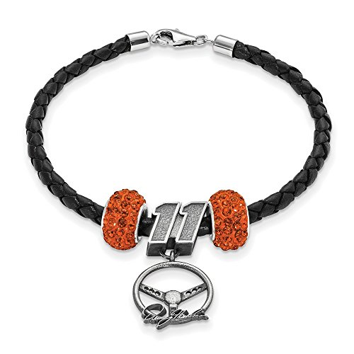 Denny Hamlin #11 Two Orange Crystal Beads Steering Wheel Black Leather Bracelet by Jewelry Stores Network