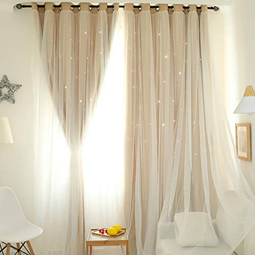 Juesi Starry Sky Sheer Curtain Double-Layer Tulle Grommet Top Window Treatment Voile Drape Valance Home Decoration, 78''x59''