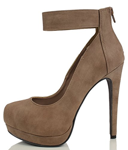 Delicious Womens Milian Almond Toe Ankle Strap Platform High Heel Taupe Nb oYLxe5j