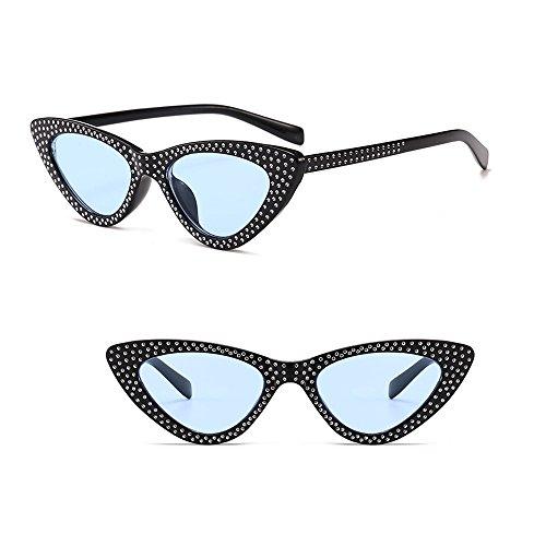 Lunettes Triangle Rétro cadre bleu Œil Femmes Chat lentille Uv400 Kindoyo Mode De Noir Soleil Classique zaqawR