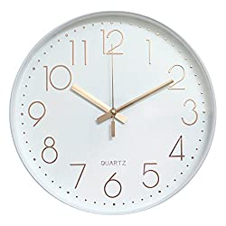 Foyou 12 Inch Silent Non Ticking Quartz Modern Round Battery Operated Decoretive Wall Clock (White & Rosegold)