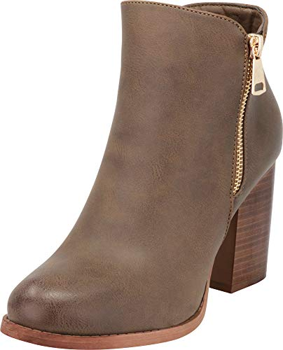 Pu Zip Chunky Block Toe Heel Ankle Cambridge Bootie Side Women's Closed Select Stacked Taupe wXqOxR