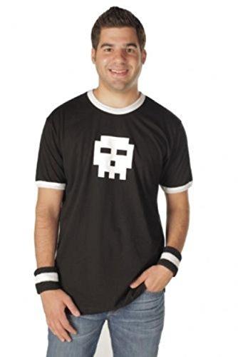 Scott Pilgrim vs. The World Pixel Skull Adult Black with White Ringers T-shirt Tee (Adult Large)