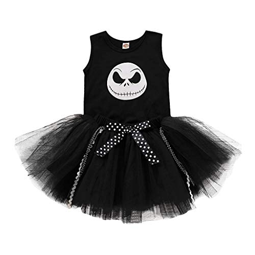 Mayunn Infant Baby Toddler Cotton Sleeveless Halloween Nightmare Print Romper Dresses Tutu Mesh Skirt Costume Outfits Set (3M-18M)