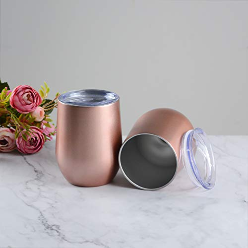 12oz Stainless Steel Stemless Wine Tumbler with Straws -ACOOME Double Wall Vacuum Insulated Wine Glass with Lid,Great Perfect for Wine, Coffee, Drinks,2 Sets (Rose Gold)