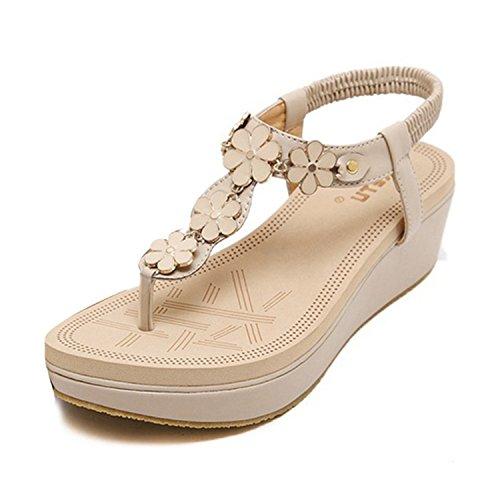 NeeKer Shoes Women Summer Bohemian Flowers Beach Wedge Sandals Beige 6