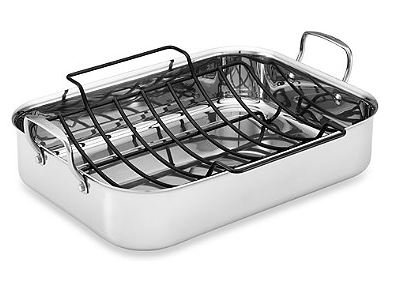 Tri-Ply Clad Stainless Steel 17-Inch x 12.5-Inch Rectangular Roaster with Nonstick ()