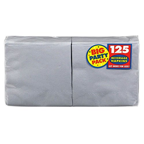 Amscan Silver Beverage Napkins Big Party Pack, 125 Ct. -