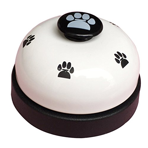 - Olpchee Metal Desk Call Bell Dog Training Bells with Footprints Pattern for Kitchen Counter Reception (White)