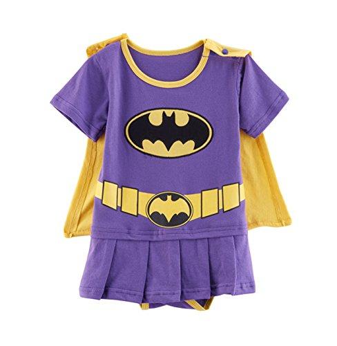 Rush Dance One Piece Super Hero Baby Wonder Baby Woman Romper Onesie Suit Cape (90 (12-18M), Batgirl (Purple & (Female Superhero Cosplay)