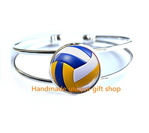 Modern Fashion Bracelet,Beautiful Bracelet ,Cute Volleyball Bracelets,Volleyball Bracelets/Bracelet Jewelry, Fine Art Bracelet Jewelry, Volleyball Photo Jewelry Glass Bracelets Gift-RC215 (Bracelet Volleyball Ankle)