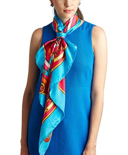 Nita 100% Natural Mulberry Silk Classic Belt & Chain Printing Scarf Blue 34