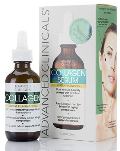 Advanced Clinicals Collagen Instant Plumping Serum for Fine Lines and Wrinkles. 1.75 Fl Oz. (Best Collagen For Wrinkles)