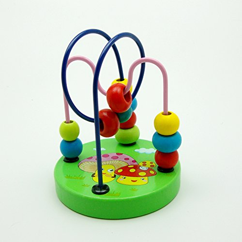 Colorful Baby Kids Children Wooden Toy Mini Around Beads Wire Maze Roller Coaster Educational Game, Mushroom pattern