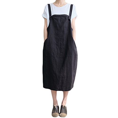 FLORHO Women Casual Strappy Pinafore Overalls Loose Midi Dress with Side Pockets Black XL