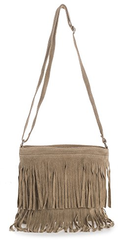 Leather Suede Shoulder LIATALIA Fringe ASHLEY Tassle Small Taupe Womens Size Bag 1BRxqwFx