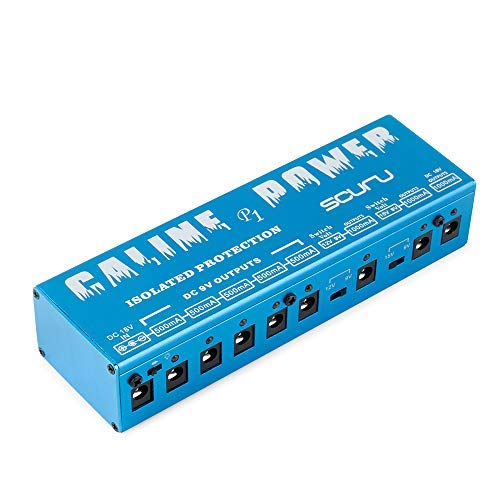Caline Guitar Pedal Power Supply Stations 8 lsolated DC Outlets 9V 12V 15V 18V with Short Circuit Overcurrent Protection Blue P1