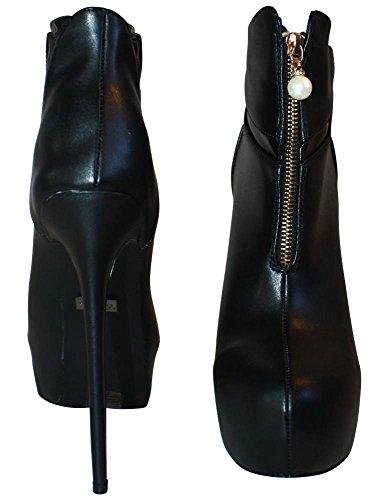 A5044 High Schwarz EU Stiefeletten Erogance 42 46 Heels Black Kunstleder Plateau 1q4z4w