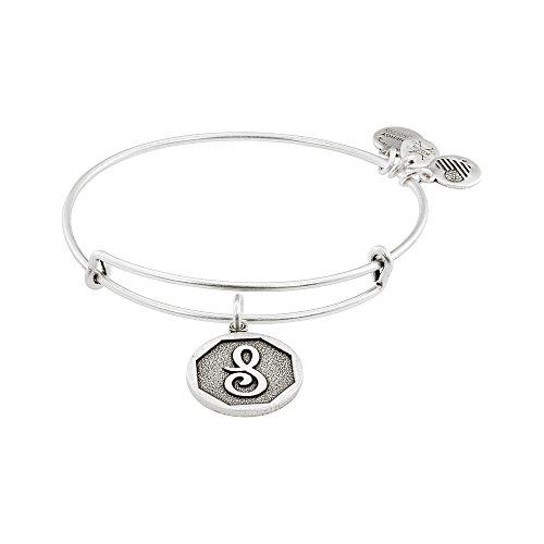 Alex and Ani Rafaelian Silver-Tone Initial S Expandable Wire Bangle Bracelet, 2.5