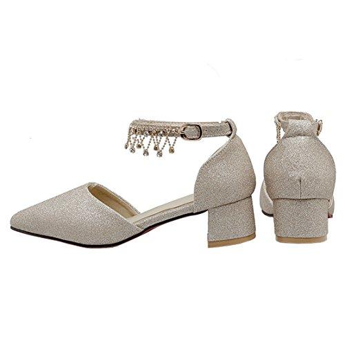 AIYOUMEI Damen Spitz Glitzer Blockabsatz Knöchelriemchen Pumps mit 4cm Absatz und Strass High Heels Modern Schuhe Gold