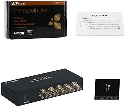 Portta  SDI Switcher  4x1, 4 in 1 Out SDI Switcher,  Support 1080p @ 60 Hz 3G Full HD Black supports SD-SDI, HD-SDI and 3G-SDI signals for Monitor/Displayer