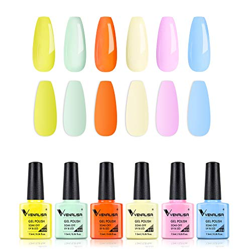 VENALISA Gel Nail Polish Set - 6 Colors Spring Summer Blue Orange Yellow Gel Polish Starter Kit Gel Nail Colors Soak Off UV LED Popular Nail Art Design for DIY Salon at Home and Party