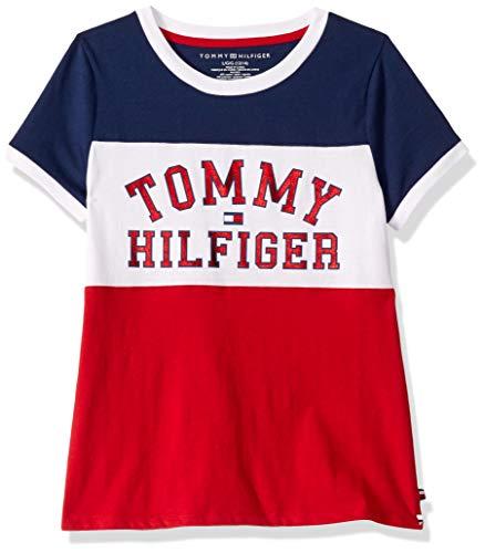 Tommy Hilfiger Big Girls Pieced Flag Tee, Scarlet Sage Red, S7