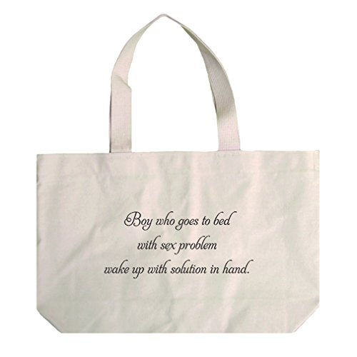 Canvas Beach Tote Sleeps W/ Sex Problem Wakes W/ Solution In Hand Style In Print by Style in Print