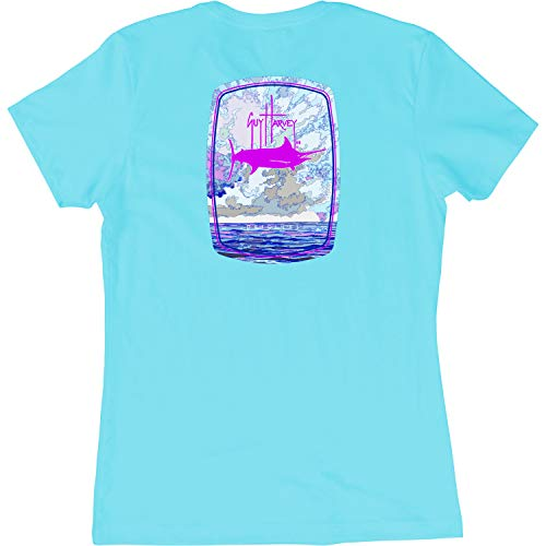 Guy Harvey Women's Bombshell S/S T-Shirt (Cancun Blue, Small)