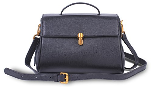 Handmade Shoulder strap Leather with Soft Women's Bag Adjustable Crossbody Black Ladies Purse Flap for 71YpxIq