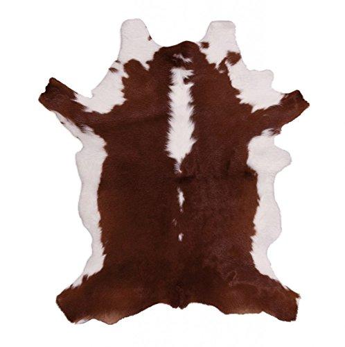 Kuhfell Stierfell Kalbfell - Braun - Weiß - Echtfell Leder - robust und haltbar - für die Wand als Teppich oder Dekor - unter Stühle Tische oder einfach vors Bett 70-80cm